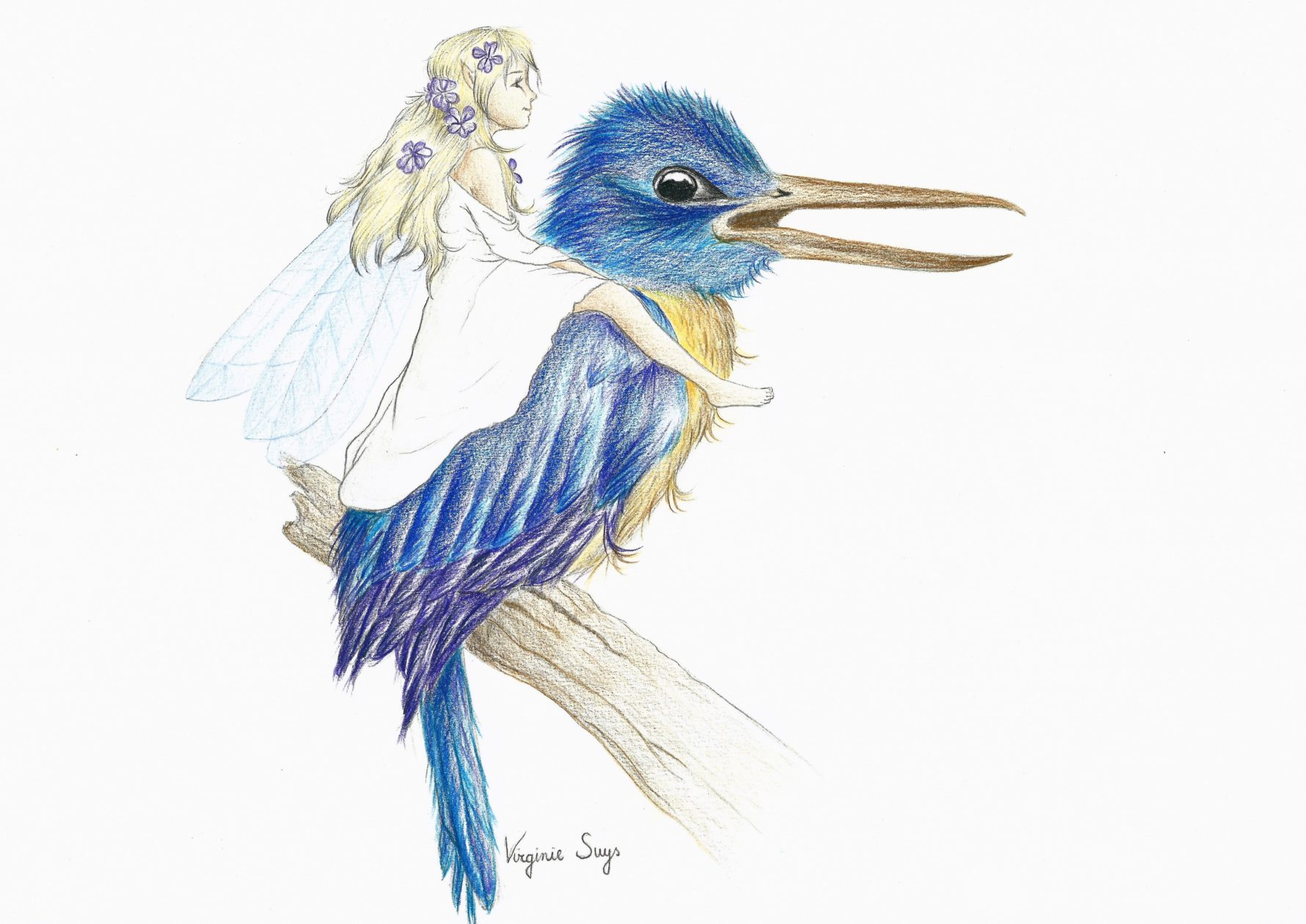 Big blue bird & white fairy