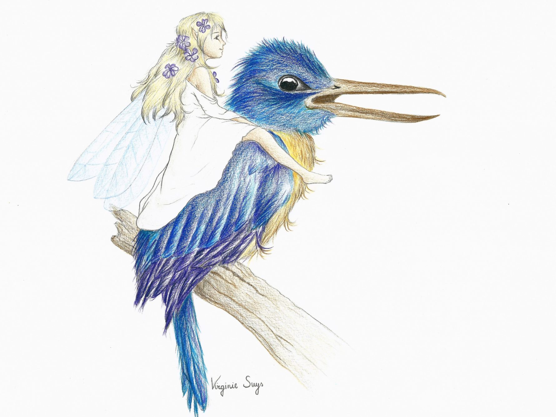 Virginie Suys Big bird & fairy in blue-white illustration