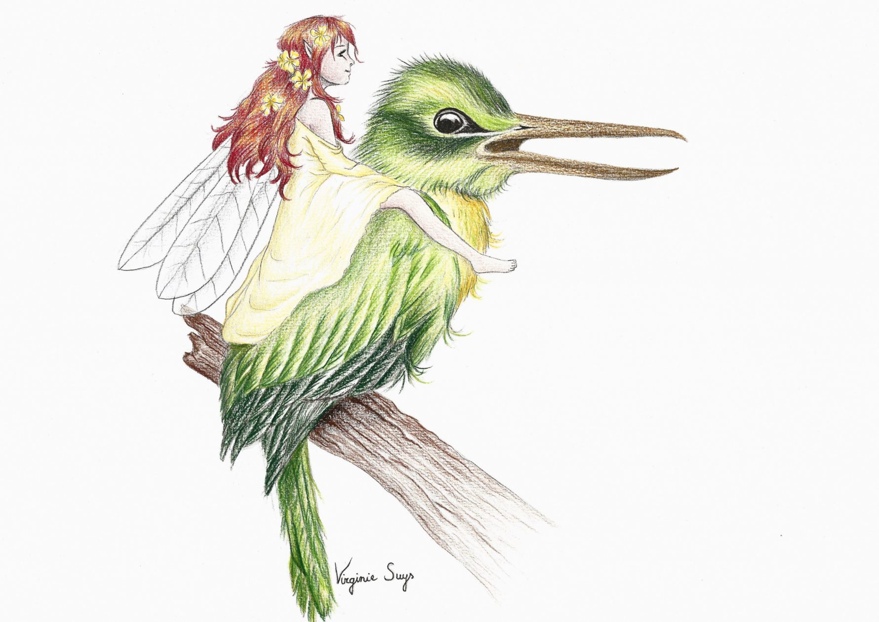 Virginie Suys Big bird & fairy in green-yellow illustration