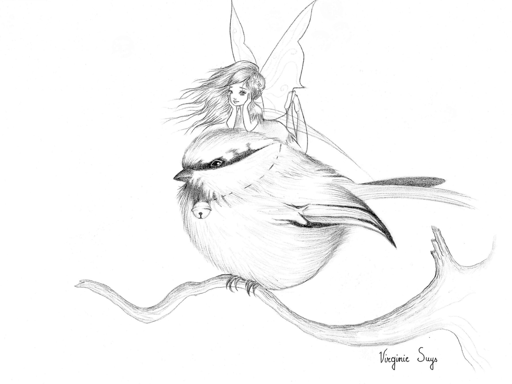Virginie Suys Little bird & fairy in black & white illustration