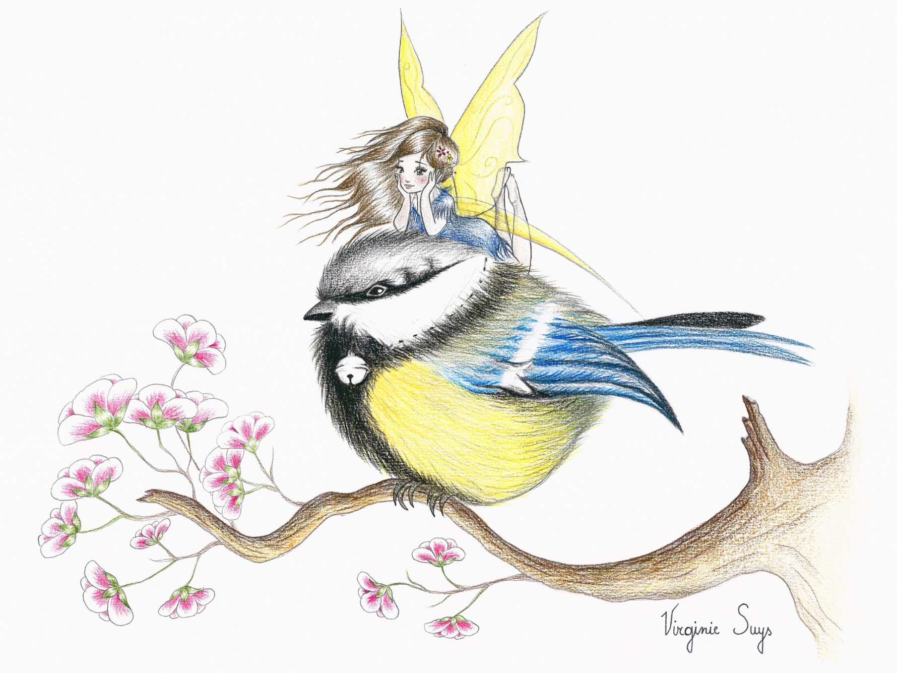 Virginie Suys Little blue yellow bird & fairy illustration