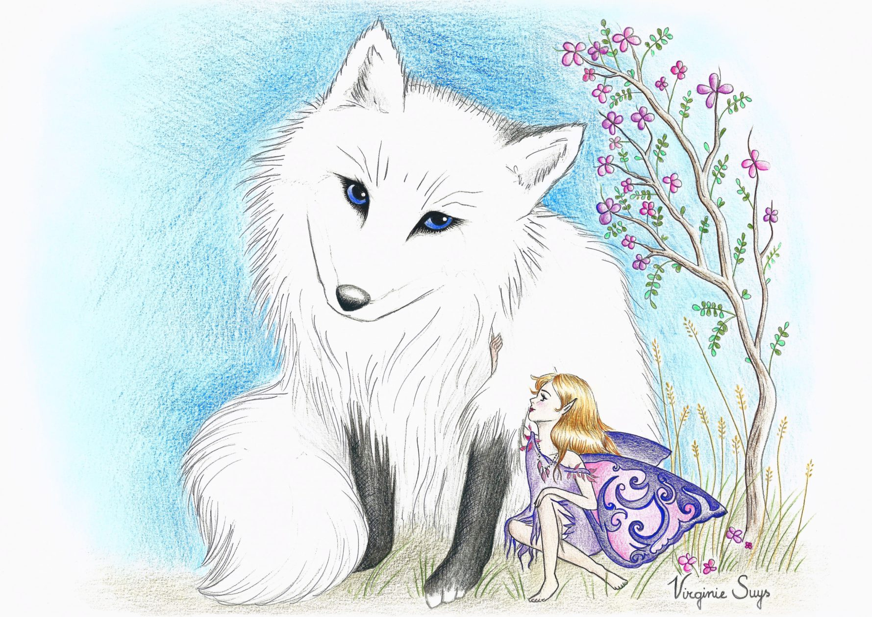 White fox and fairy
