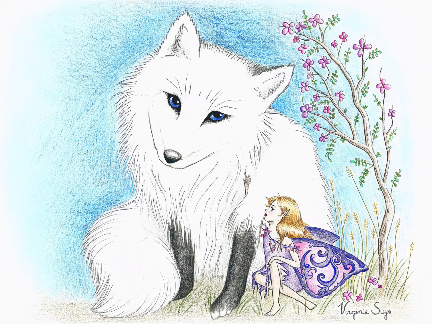 Virginie Suys Fox and fairy in white and blue illustration