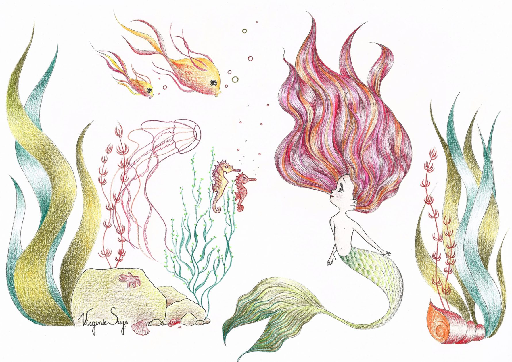Virginie Suys Mermaid in green & red illustration