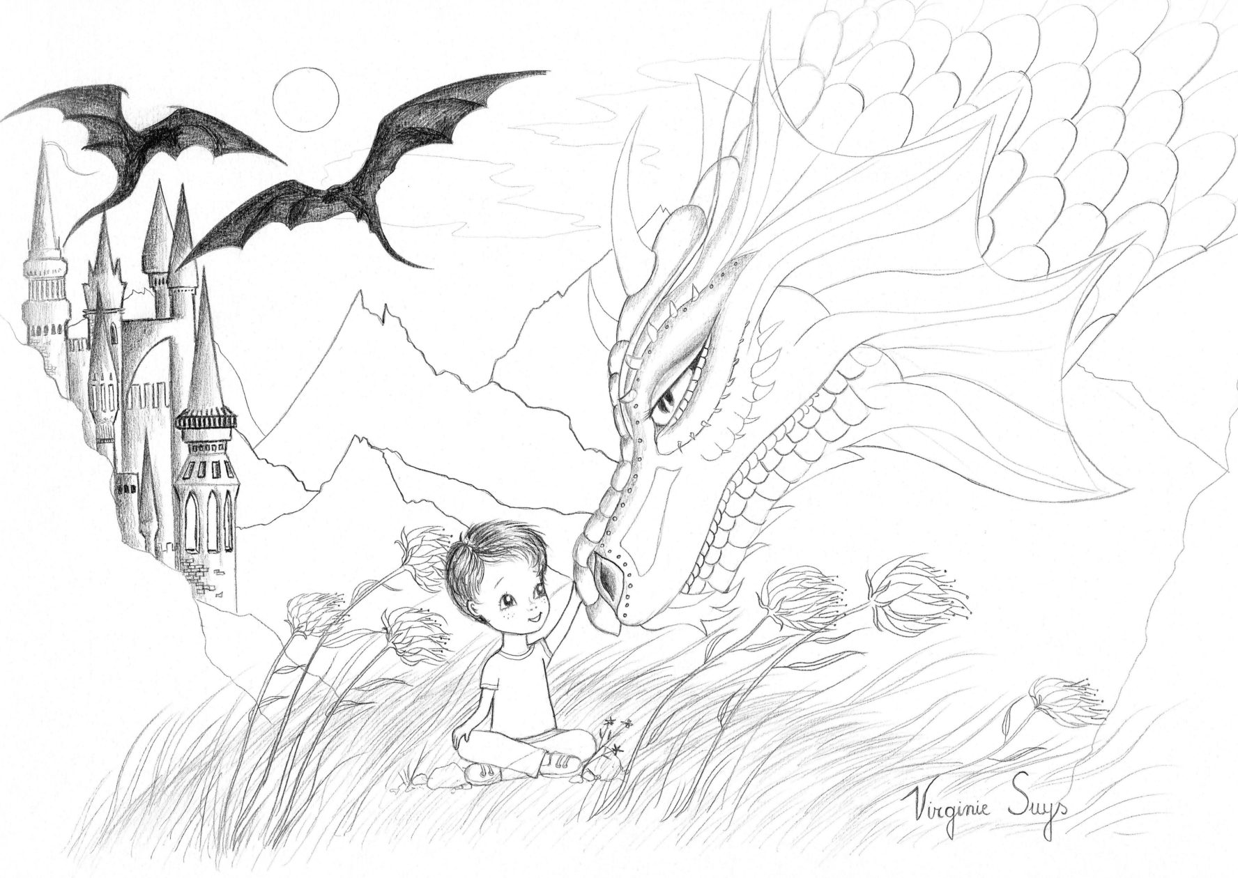 Virginie Suys Dragonboy in black & white illustration