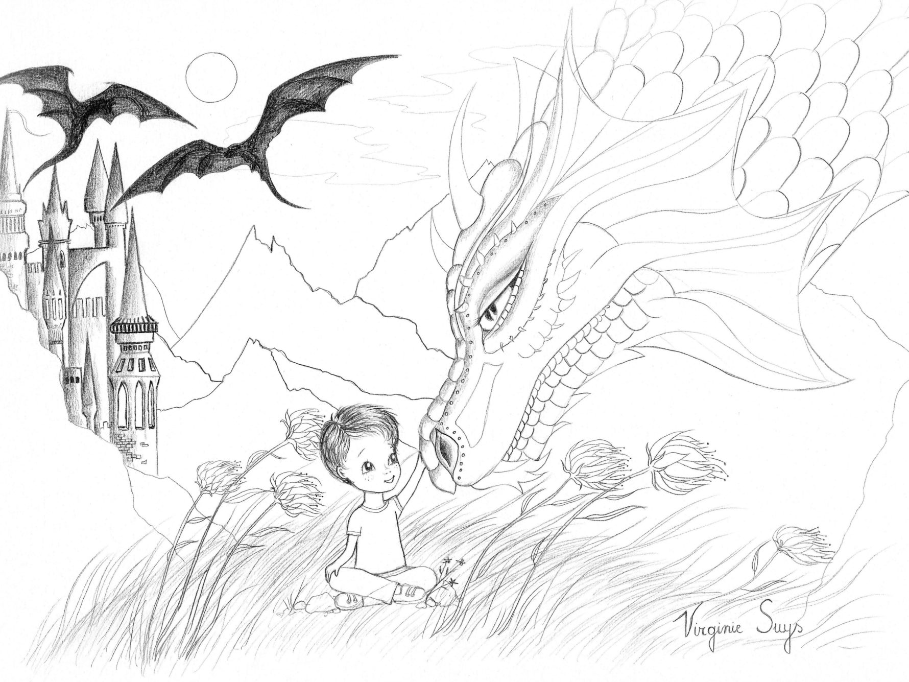 Virginie Suys Dragonboy in black & white illustration