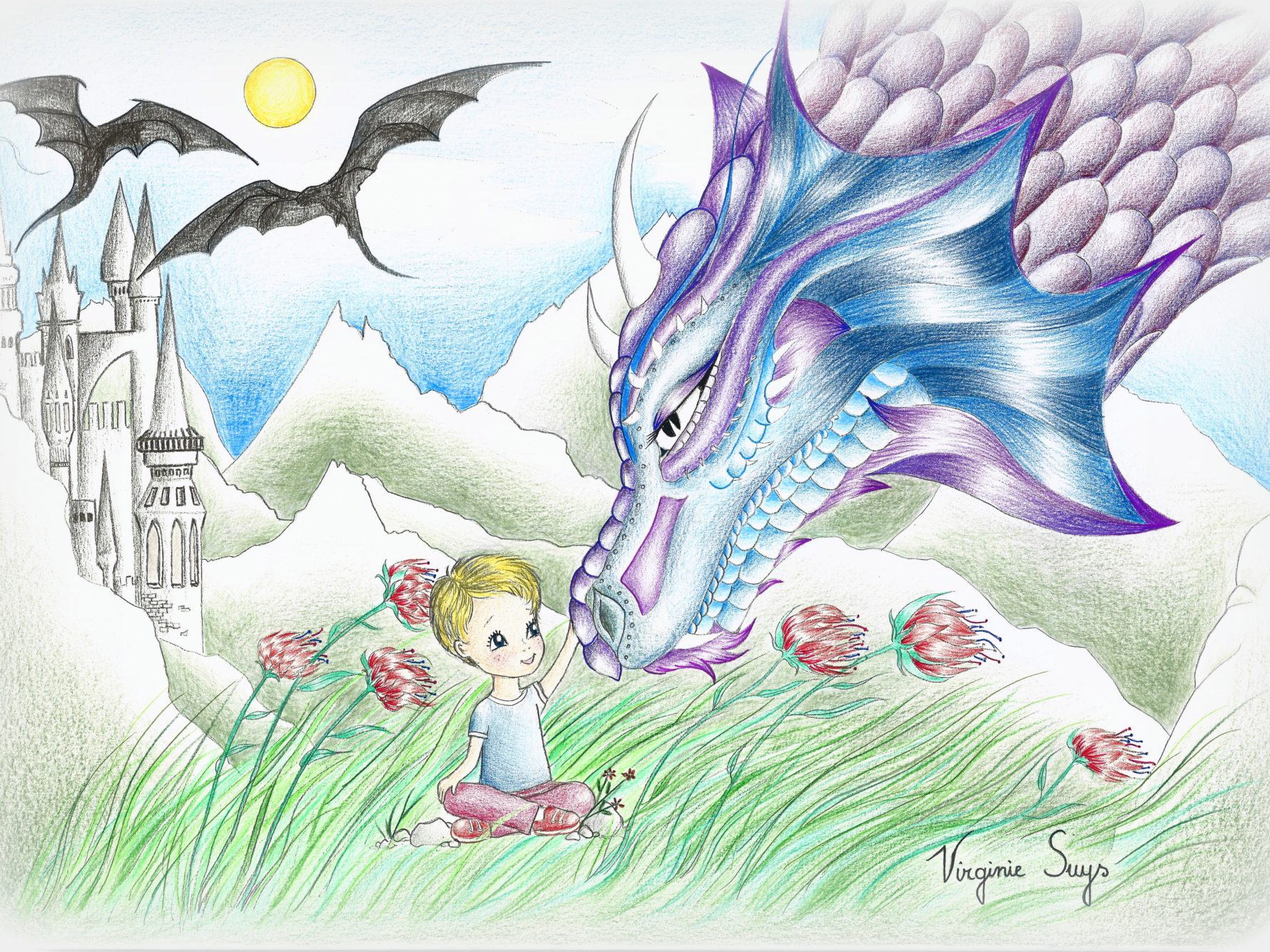 Virginie Suys Dragonboy in blue purple illustration
