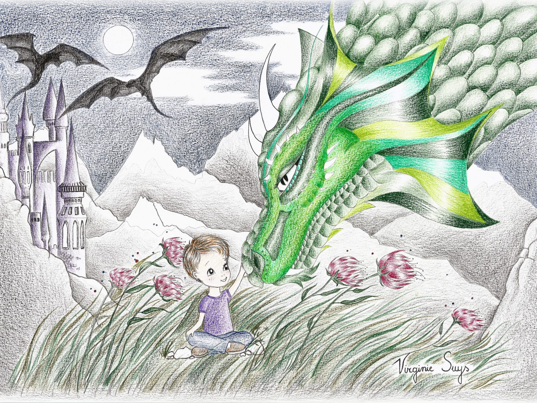 Virginie Suys Dragonboy in green purple illustration