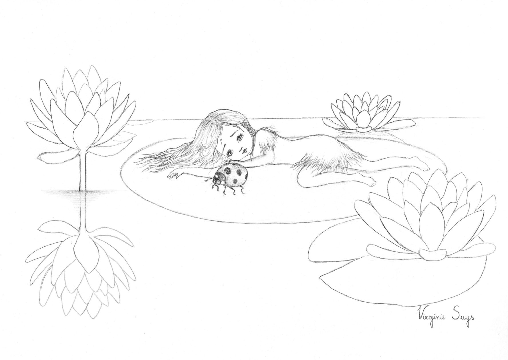 Virginie Suys Thumbelina by the waterlillys in black & white illustration
