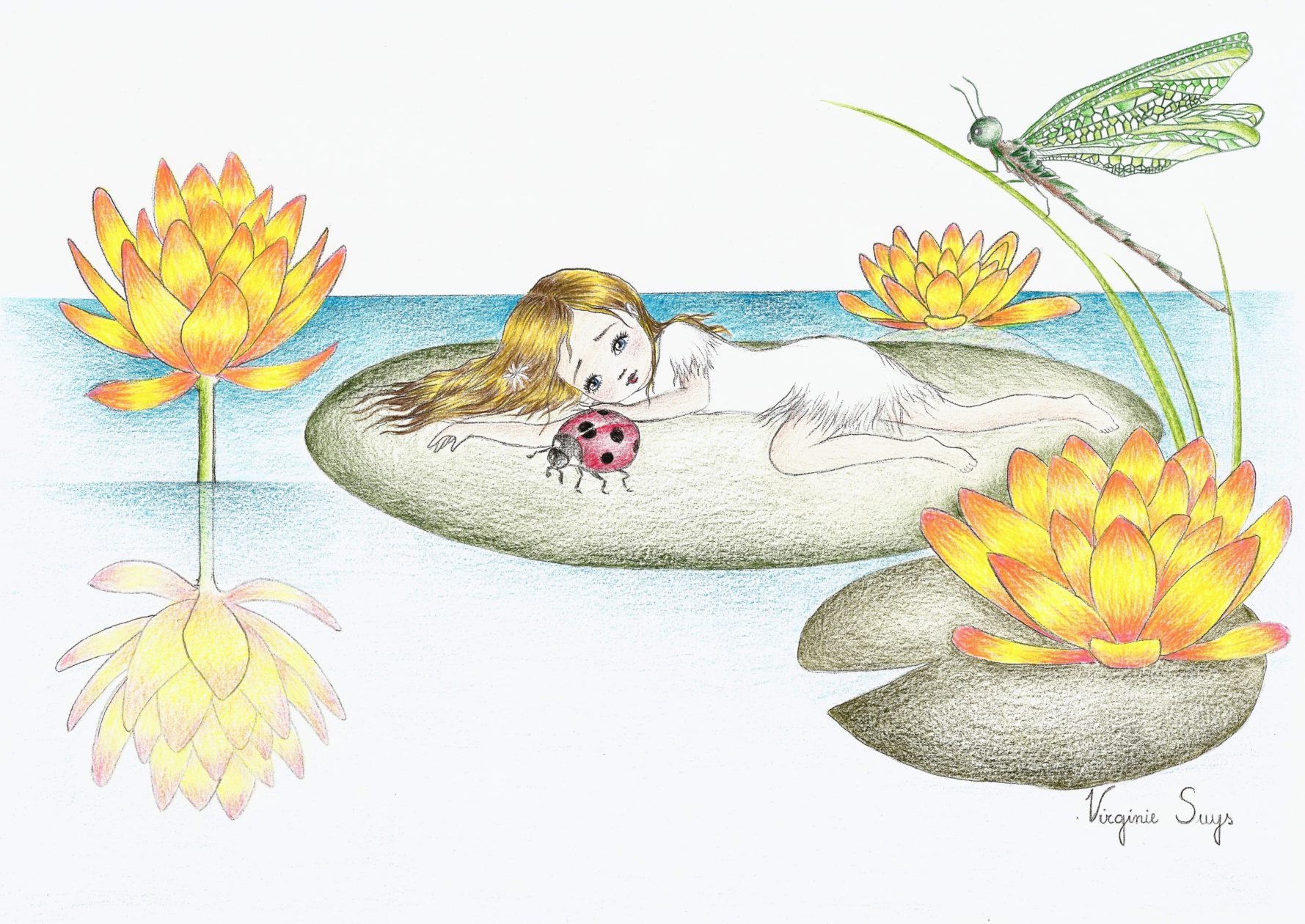 Thumbelina by the waterlillys in dark green illustration