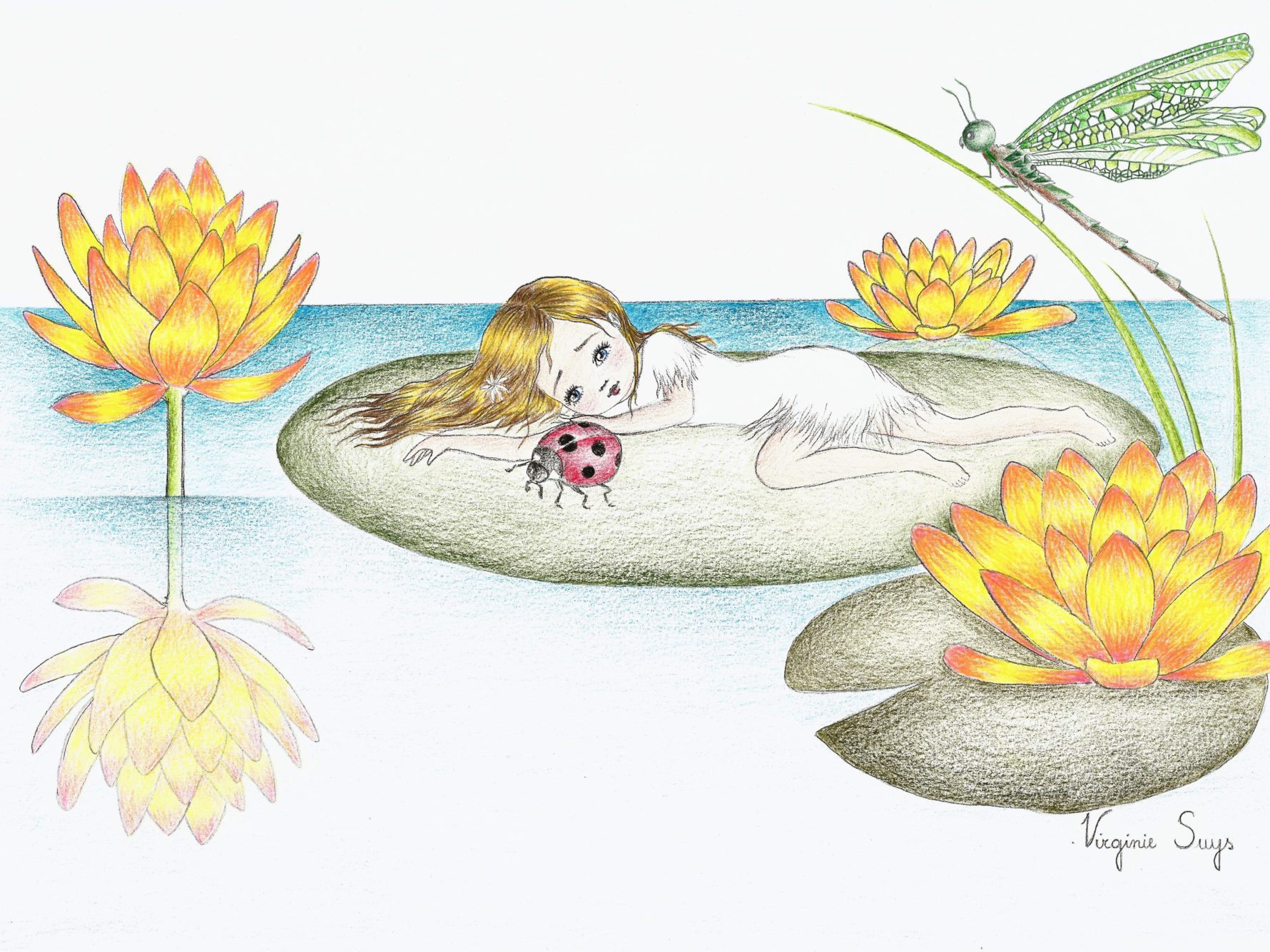 Virginie Suys Thumbelina by the waterlillys yellow green illustration