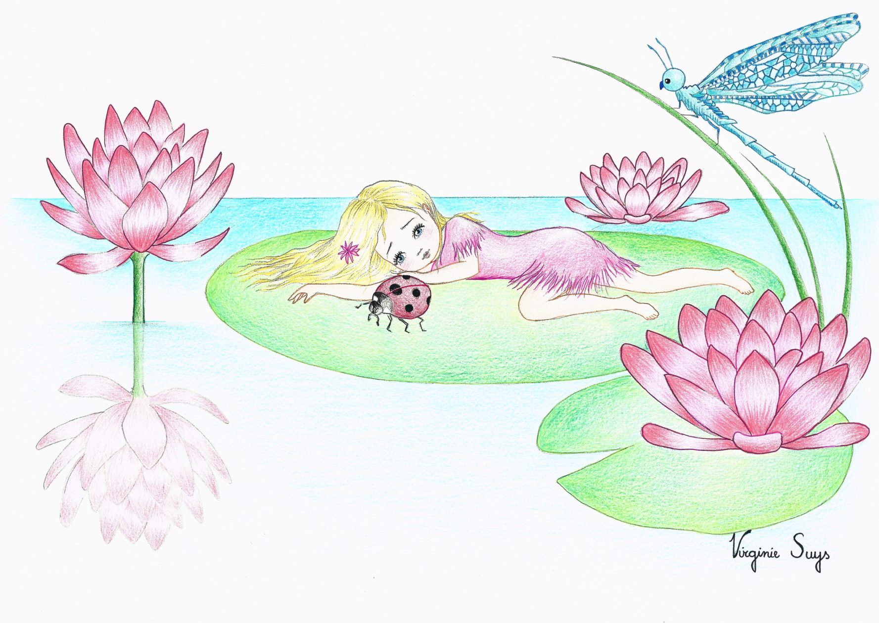 Thumbelina by the waterlillys in light green illustration