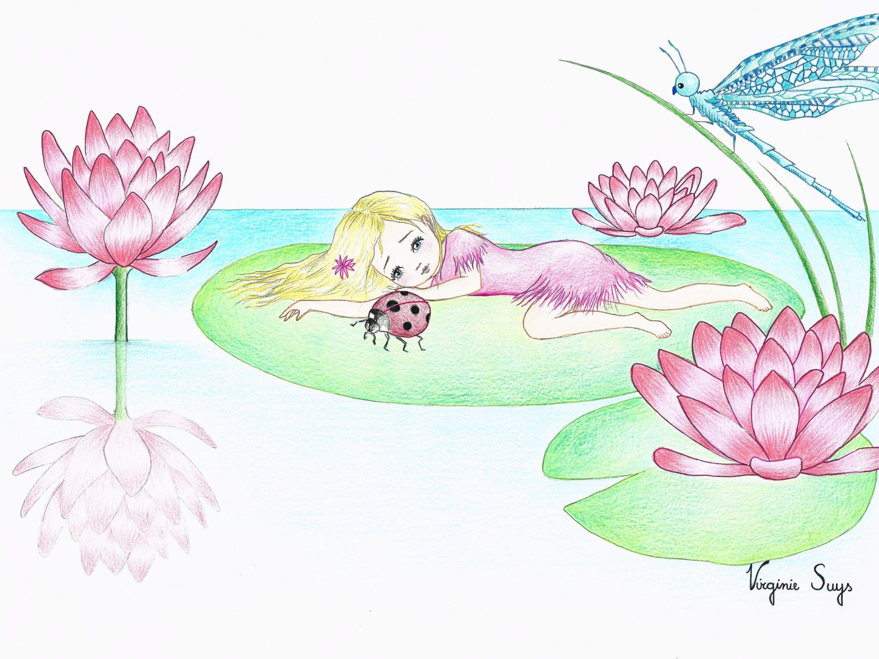 Virginie Suys Thumbelina by the waterlillys pink & green illustration