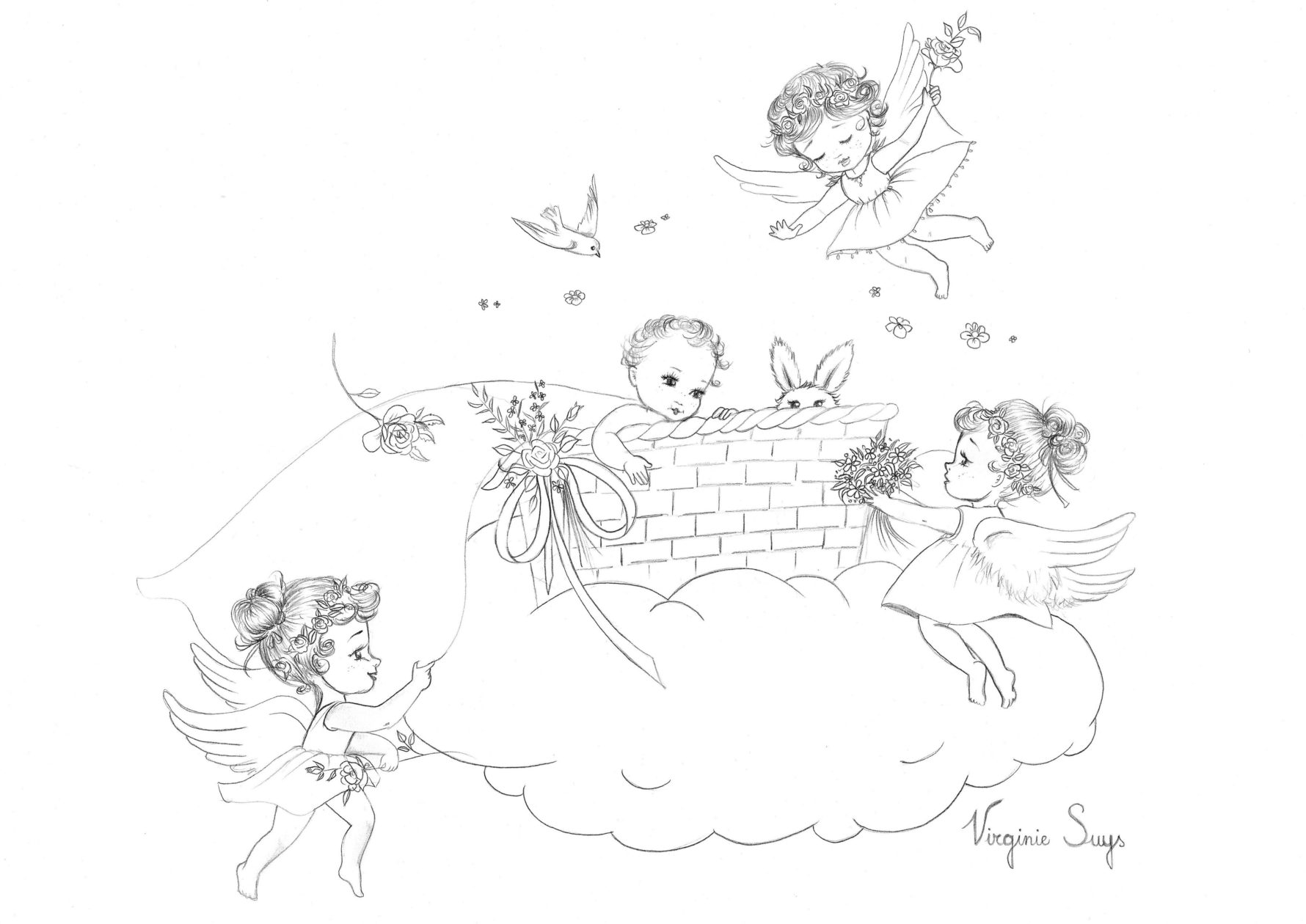 Virginie Suys Angels in heaven in black & white illustration