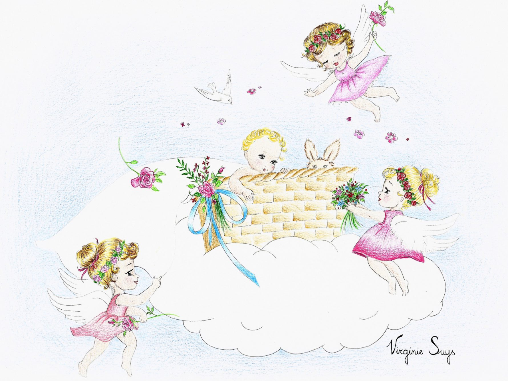 Virginie Suys Angels in heaven blues and pinks illustration