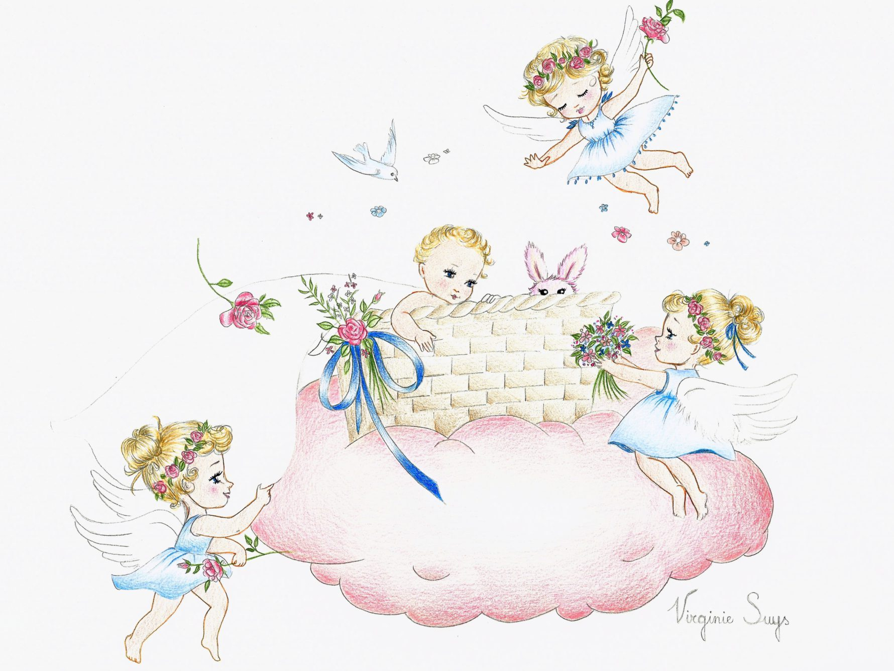 Virginie Suys Angels in heaven pink cloud illustration