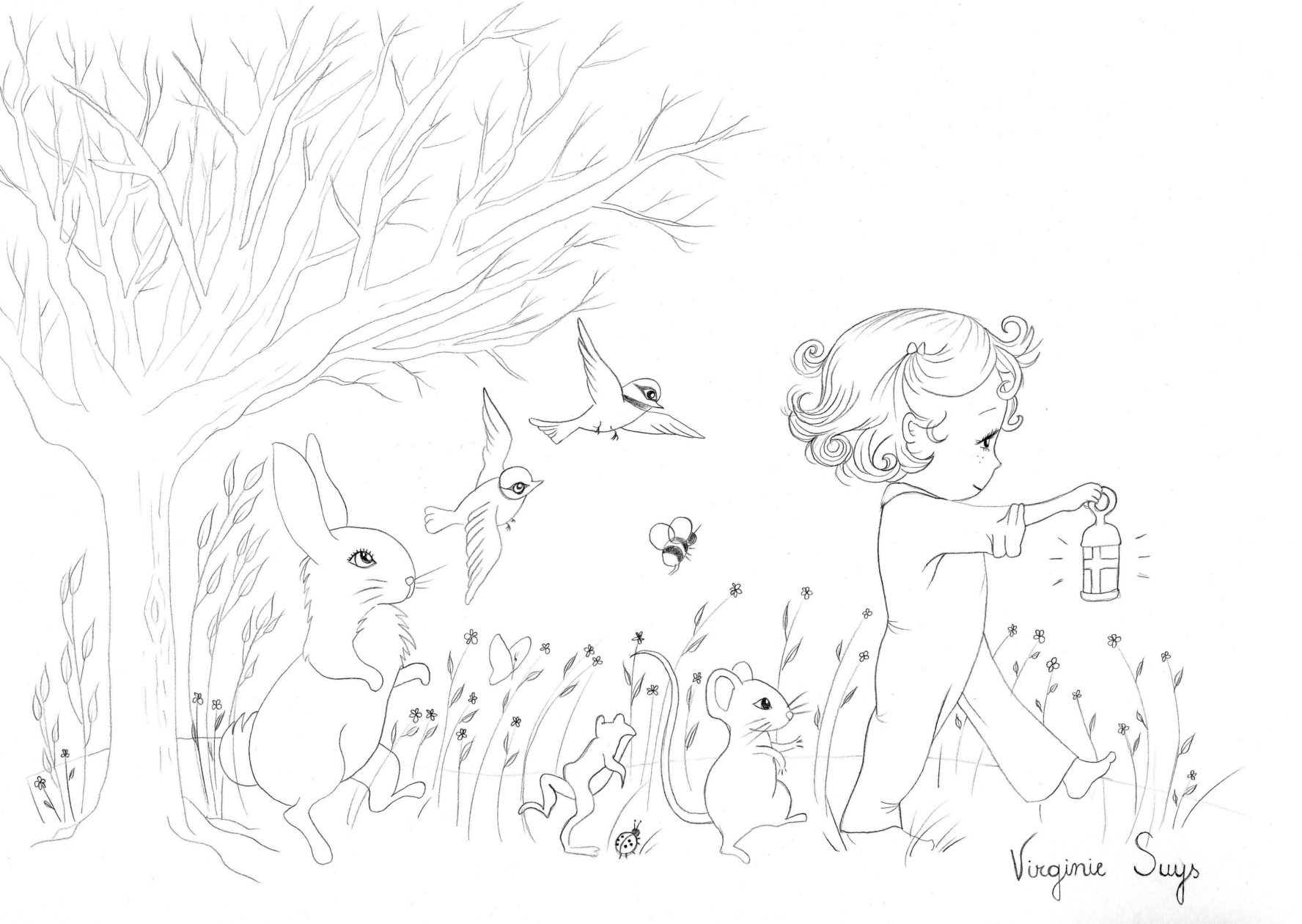 Virginie Suys Forest parade in black & white illustration