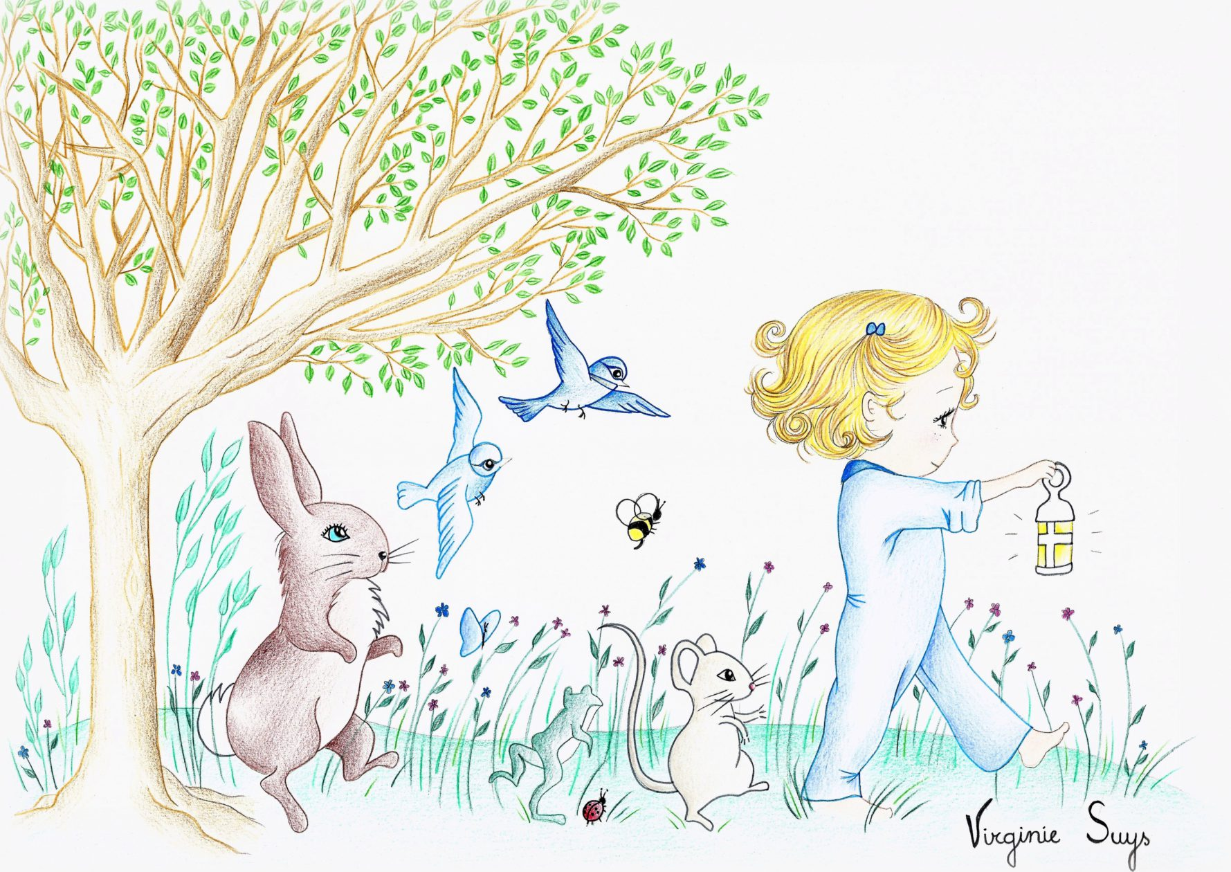 Virginie Suys Forest parade in blue illustration