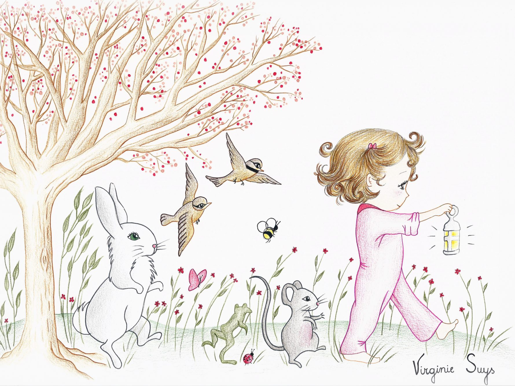 Virginie Suys Forest parade in pink illustration