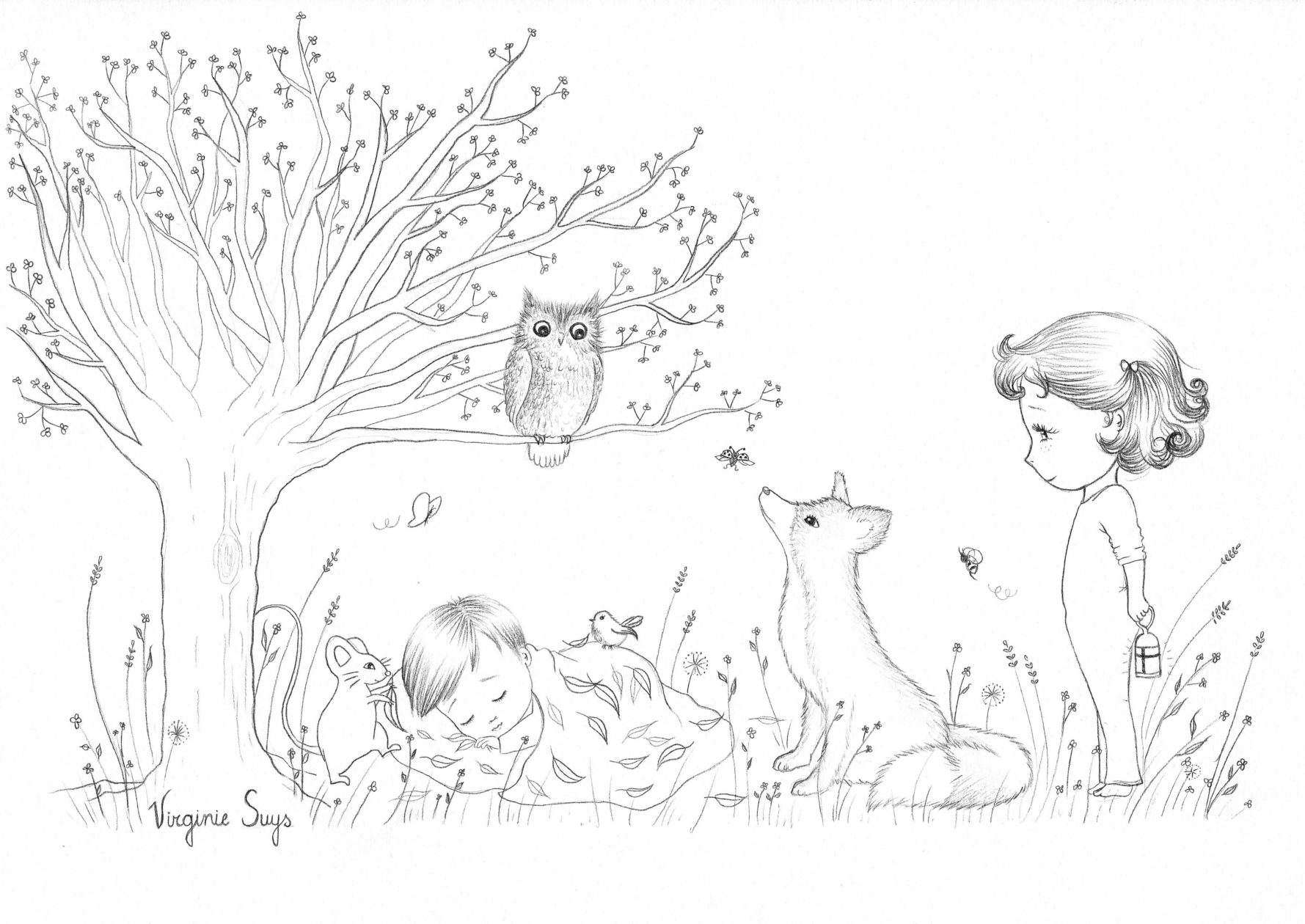 Virginie Suys Dreams in the forest in black & white illustration