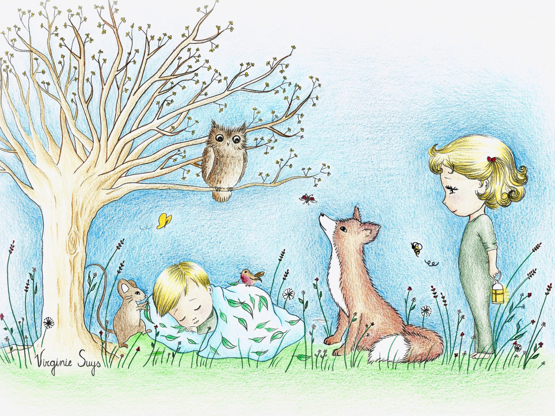 Virginie Suys Dreams in the forest in blue & green illustration