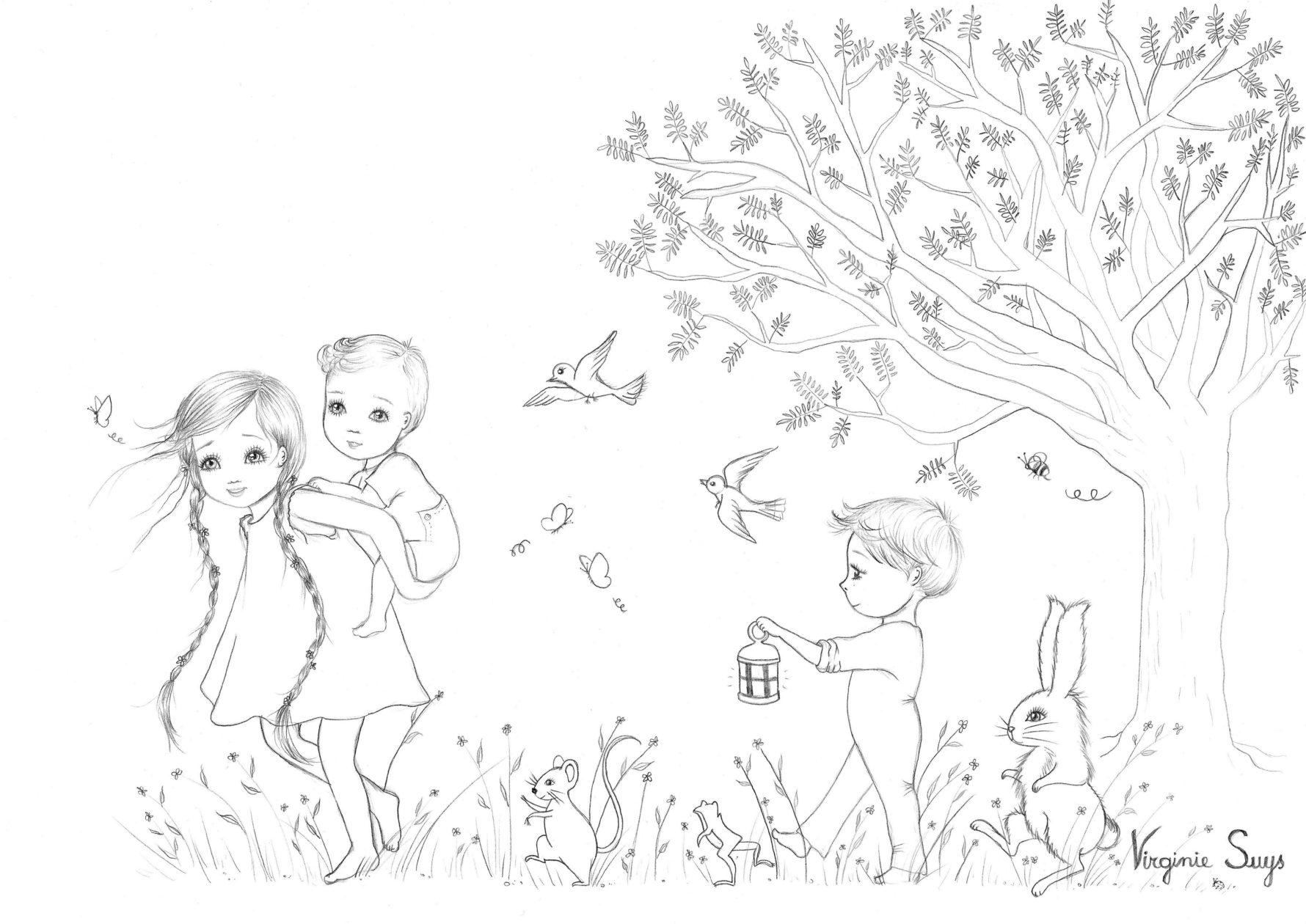 Virginie Suys Children in the forest in black & white illustration