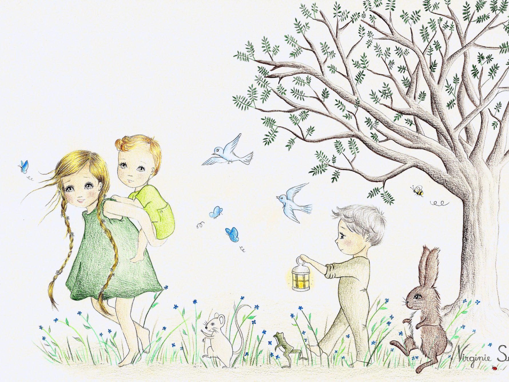 Virginie Suys Children in the forest in green & blue illustration