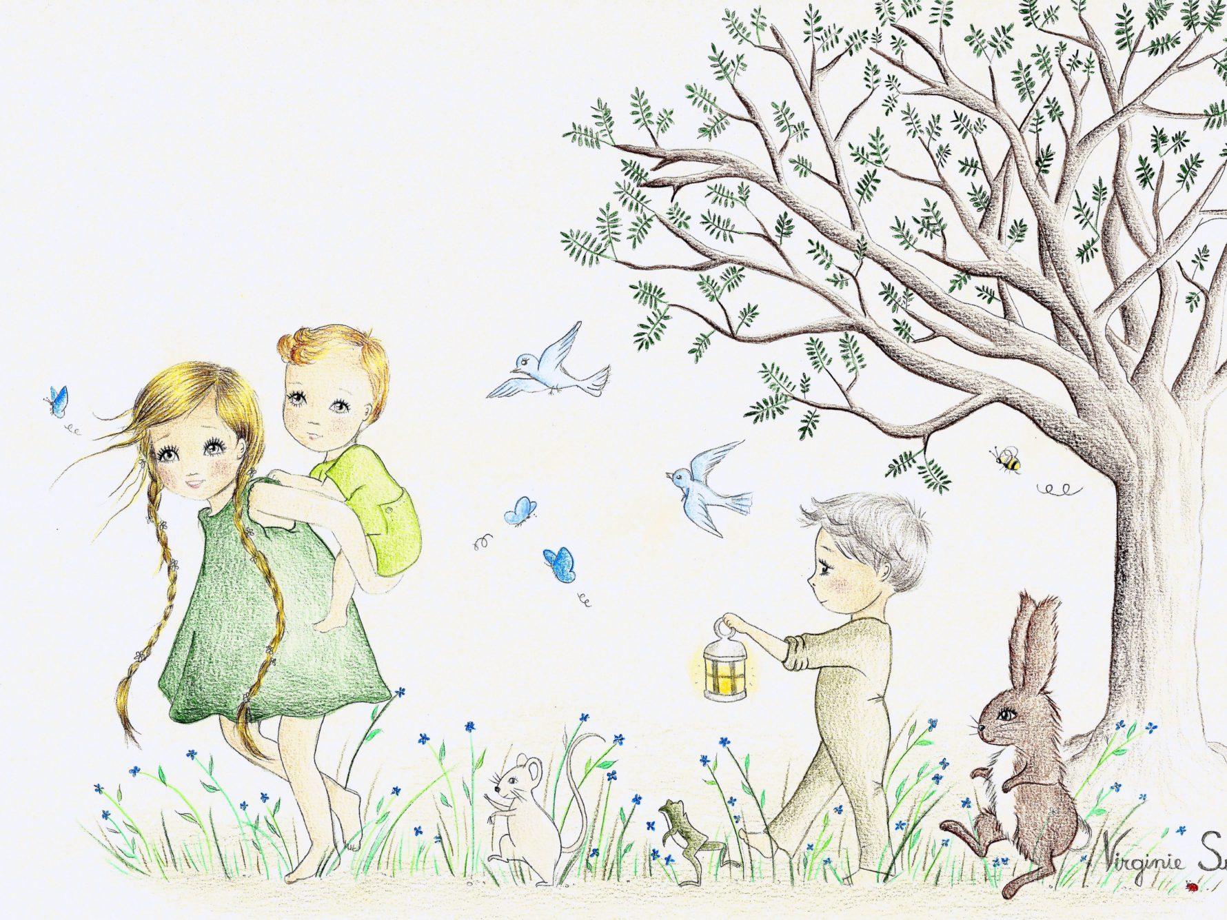Virginie Suys Children in the forest in green & blue illustration