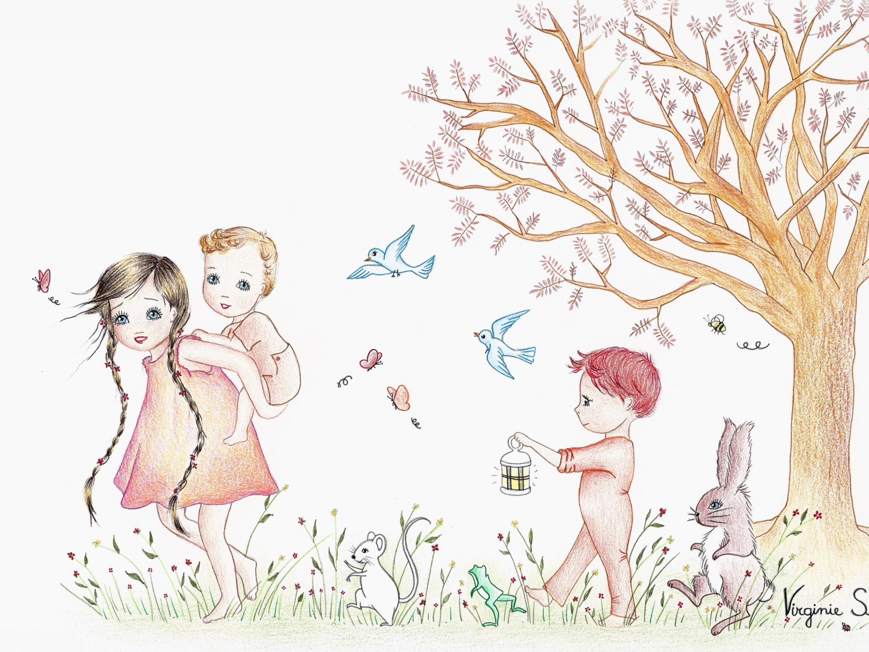 Virginie Suys Children in the forest in orange & blue illustration