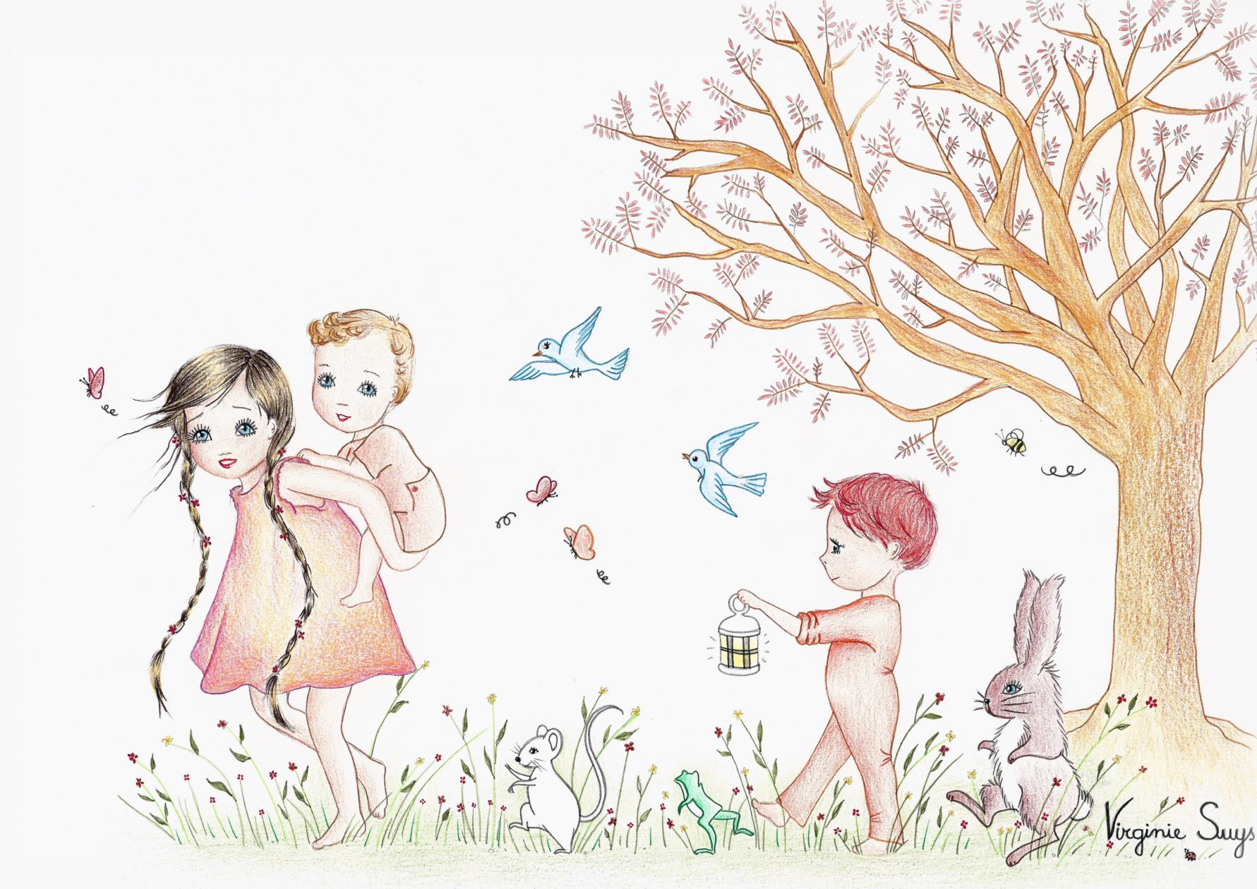 Children in the forest with brown background
