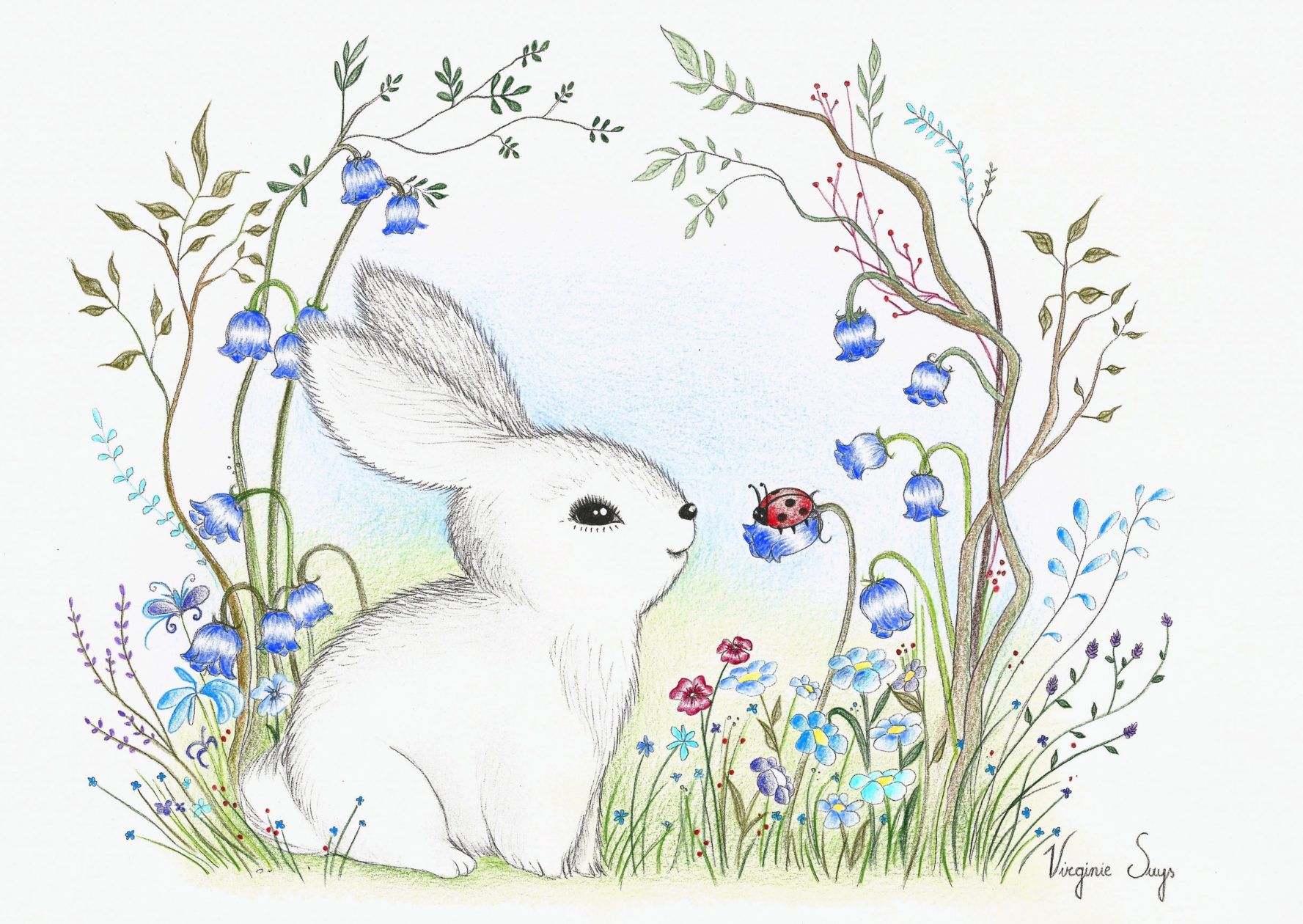 White rabbit in flowers with blue background