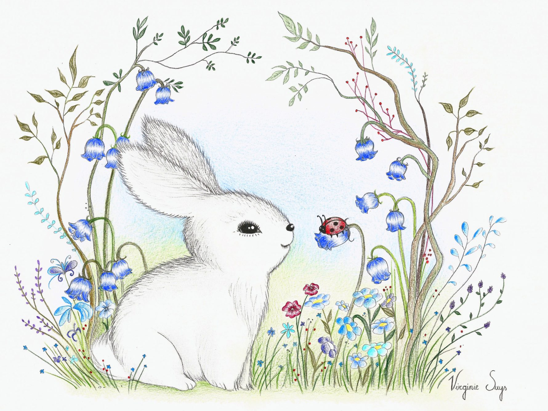 Virginie Suys Rabbit in flowers in blue & white illustration