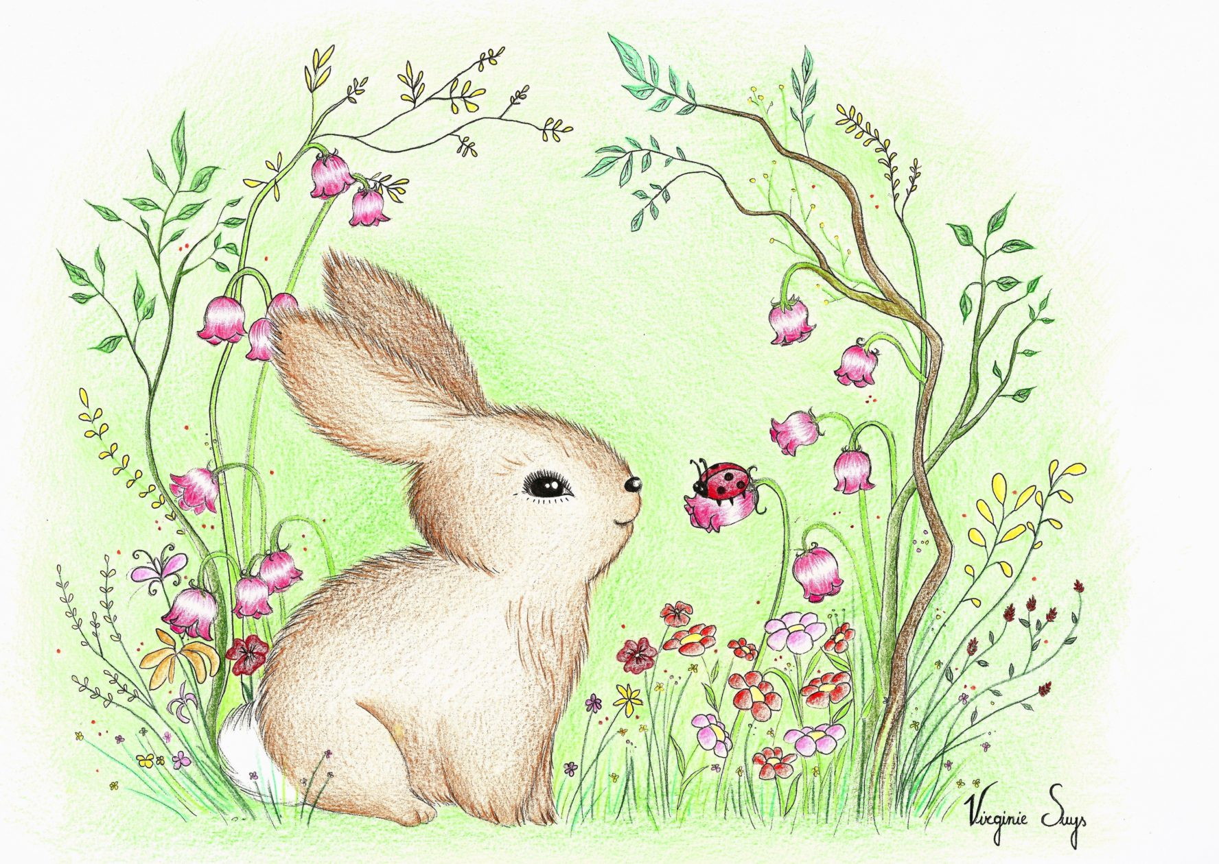Brown rabbit in flowers with green background