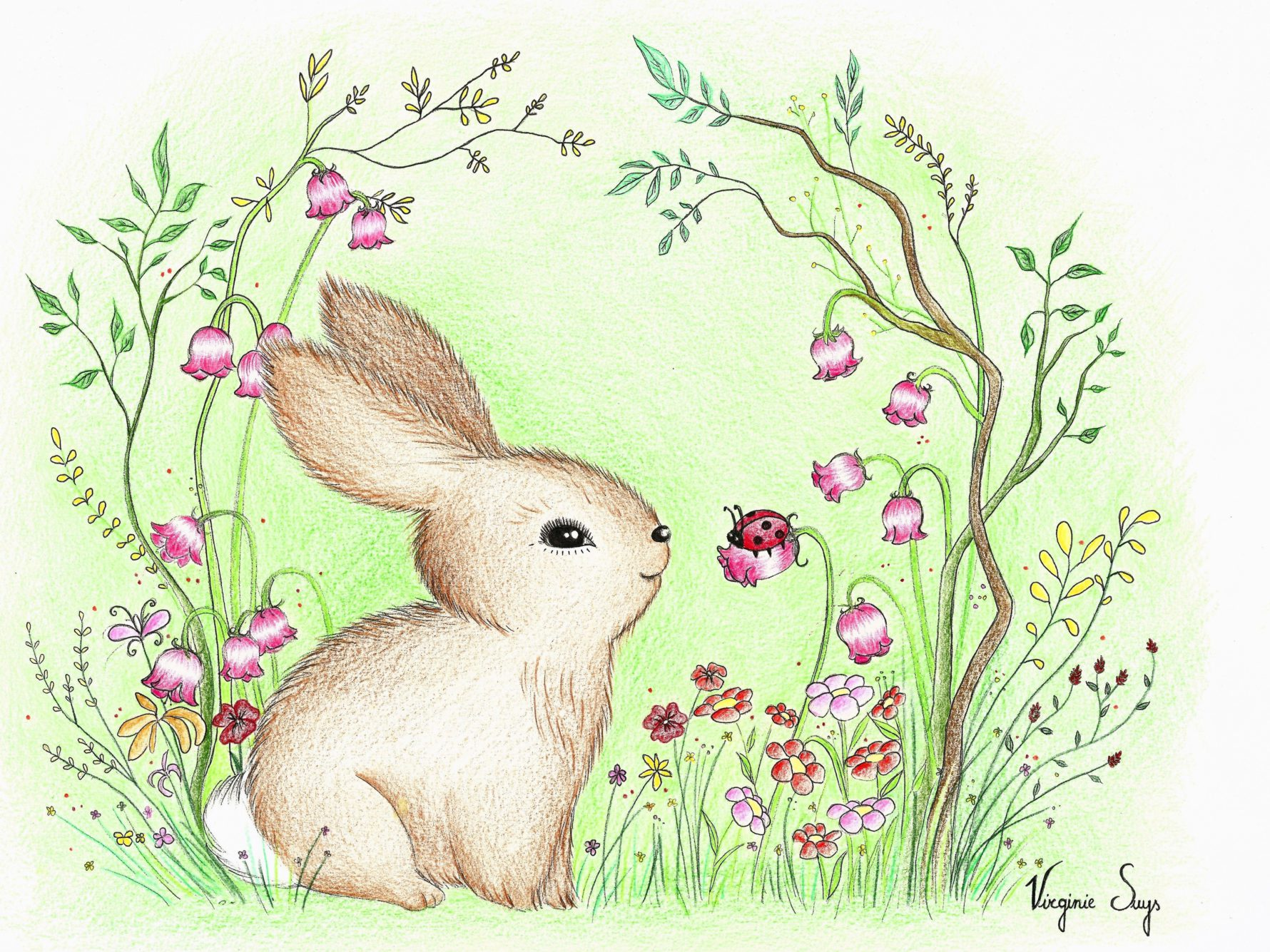 Virginie Suys Rabbit in flowers in green & pink illustration