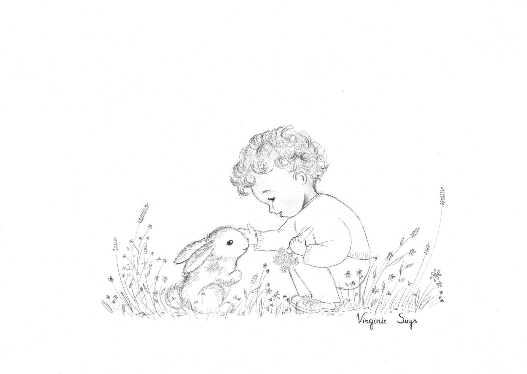 Virginie Suys Boy with rabbit in black & white illustration