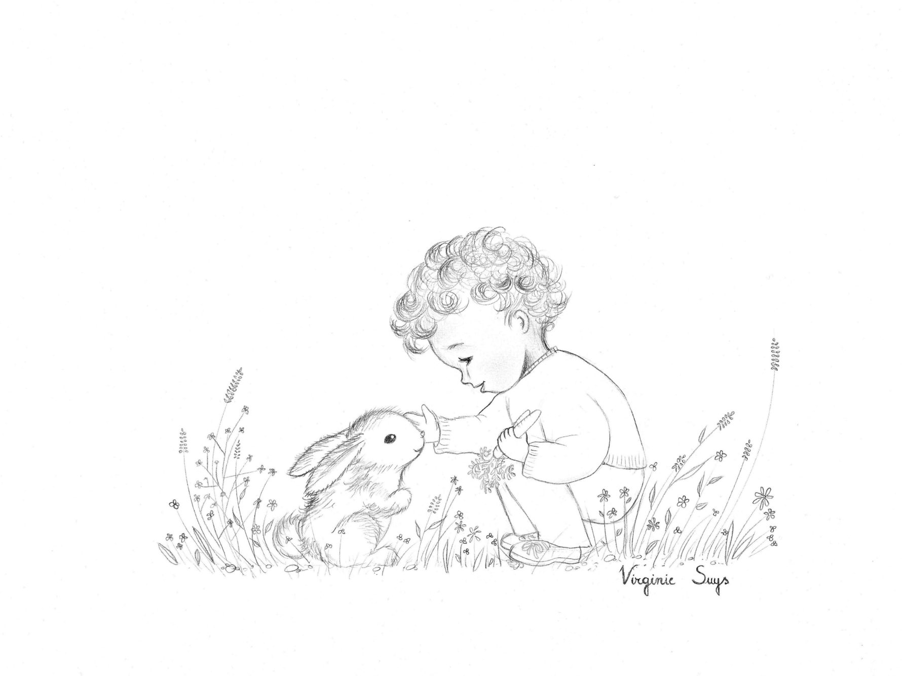 Virginie Suys Boy with rabbit in black & white illustration