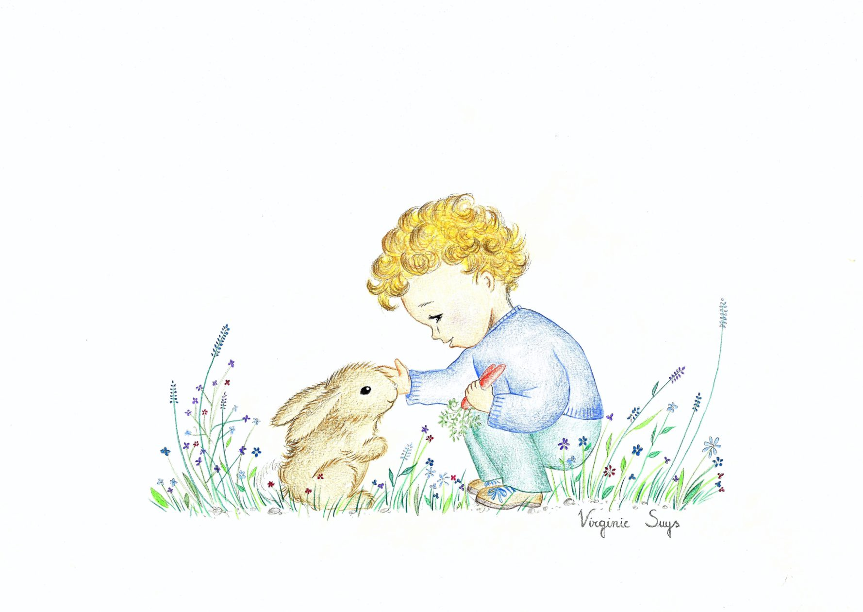 Virginie Suys Boy with rabbit in blue & green illustration