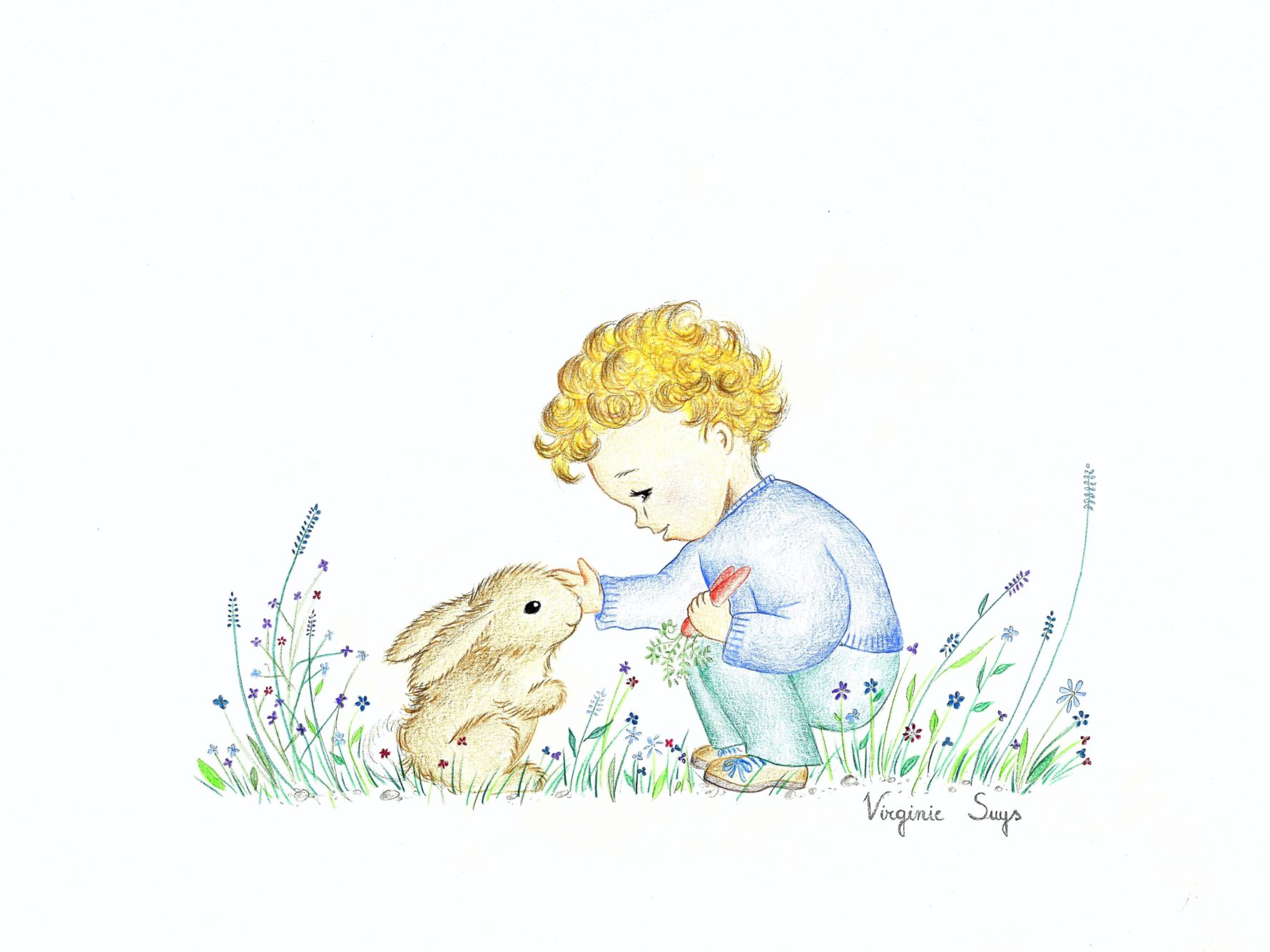 Virginie Suys Boy with rabbit in blue & green illustration