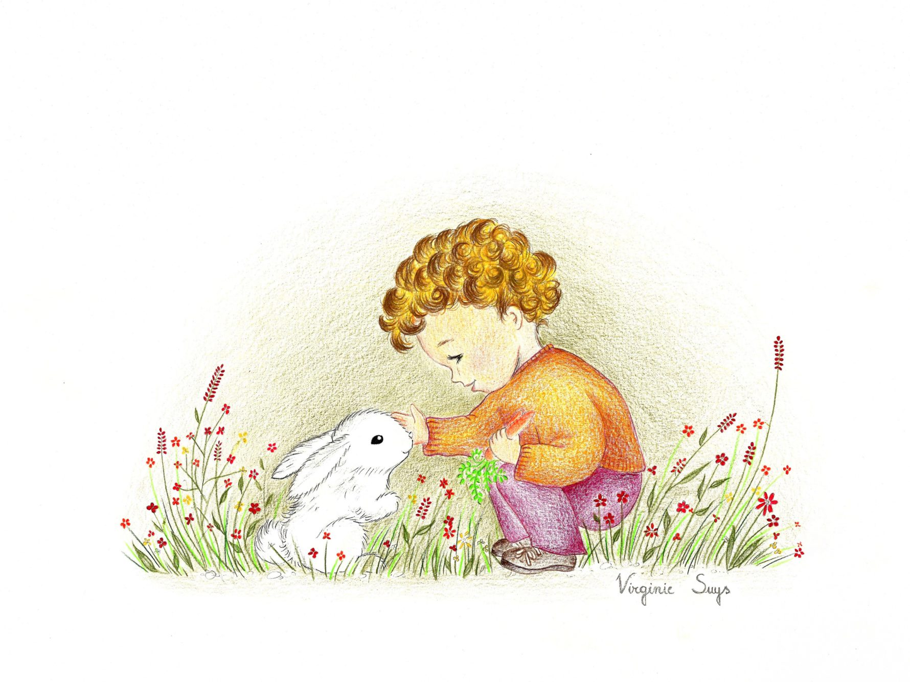 Virginie Suys Boy with rabbit in brown & purple illustration