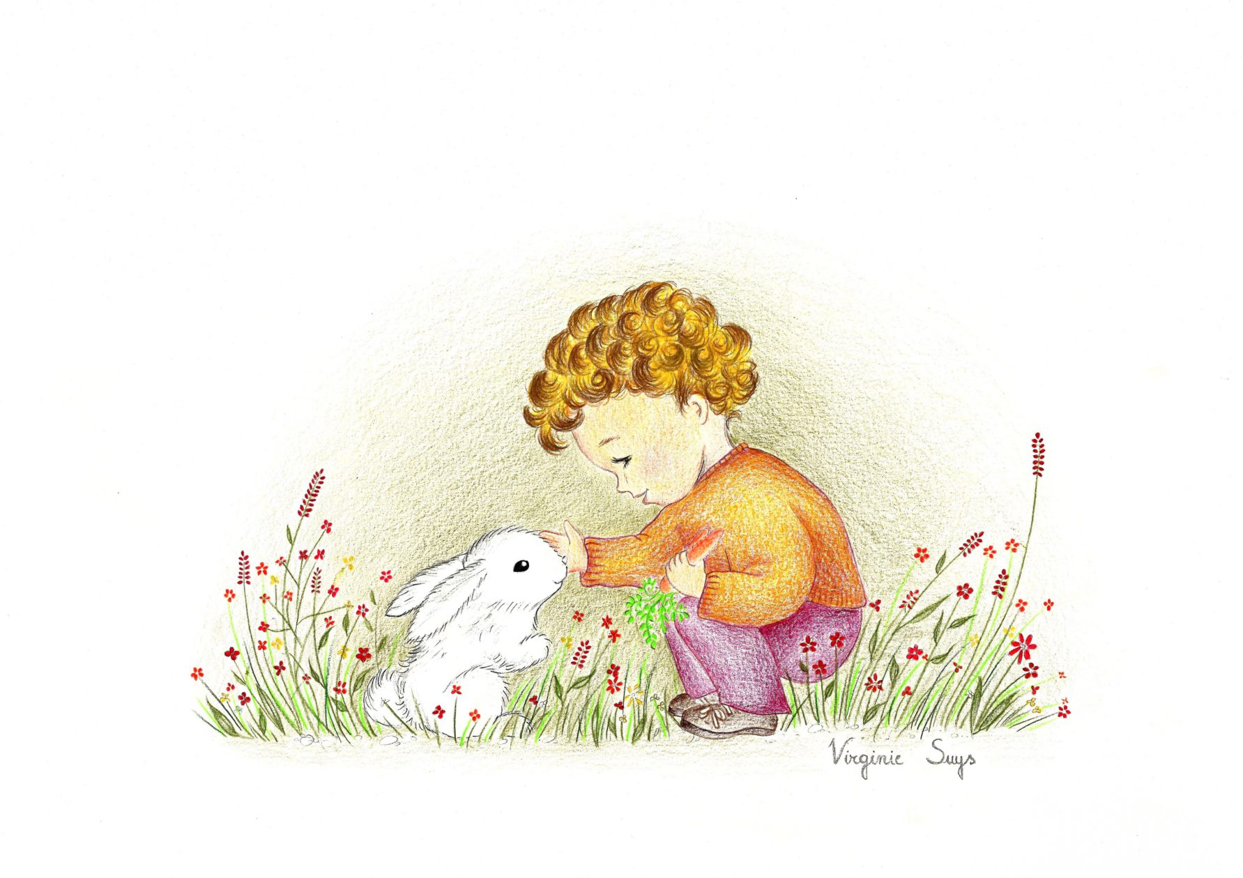 Boy with rabbit in oranje illustration