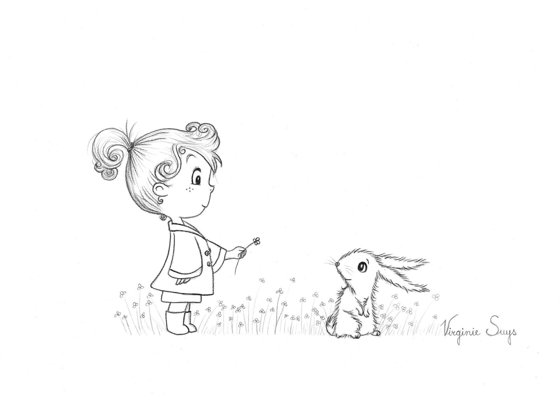 Virginie Suys Girl with rabbit in black & white illustration