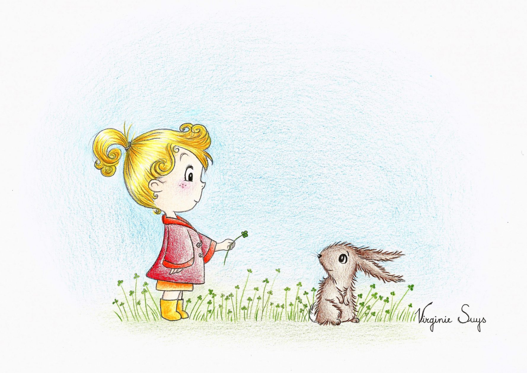 Virginie Suys Girl with rabbit in red illustration