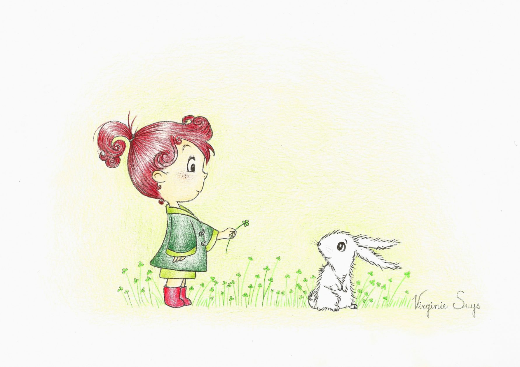 Virginie Suys Girl with rabbit in red & green illustration