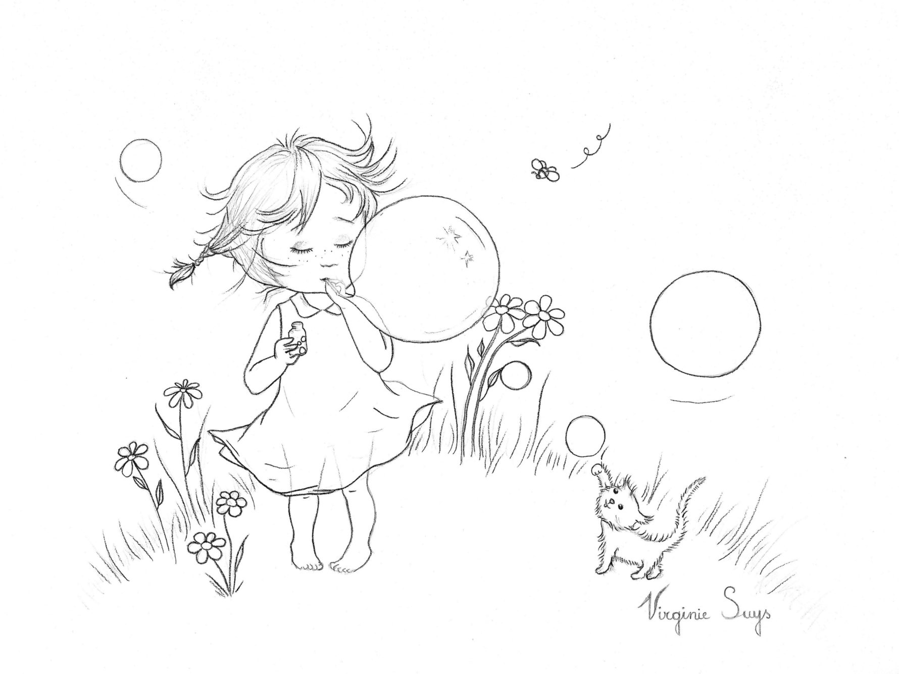 Virginie Suys Bubbly girl in black & white illustration