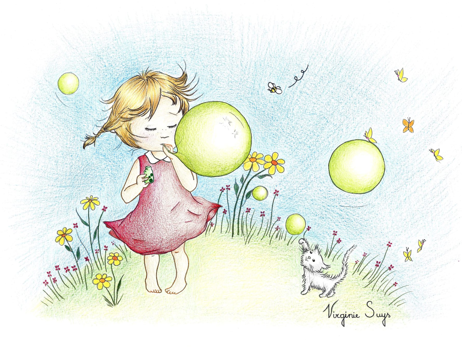 Virginie Suys Bubbly girl in red-green illustration