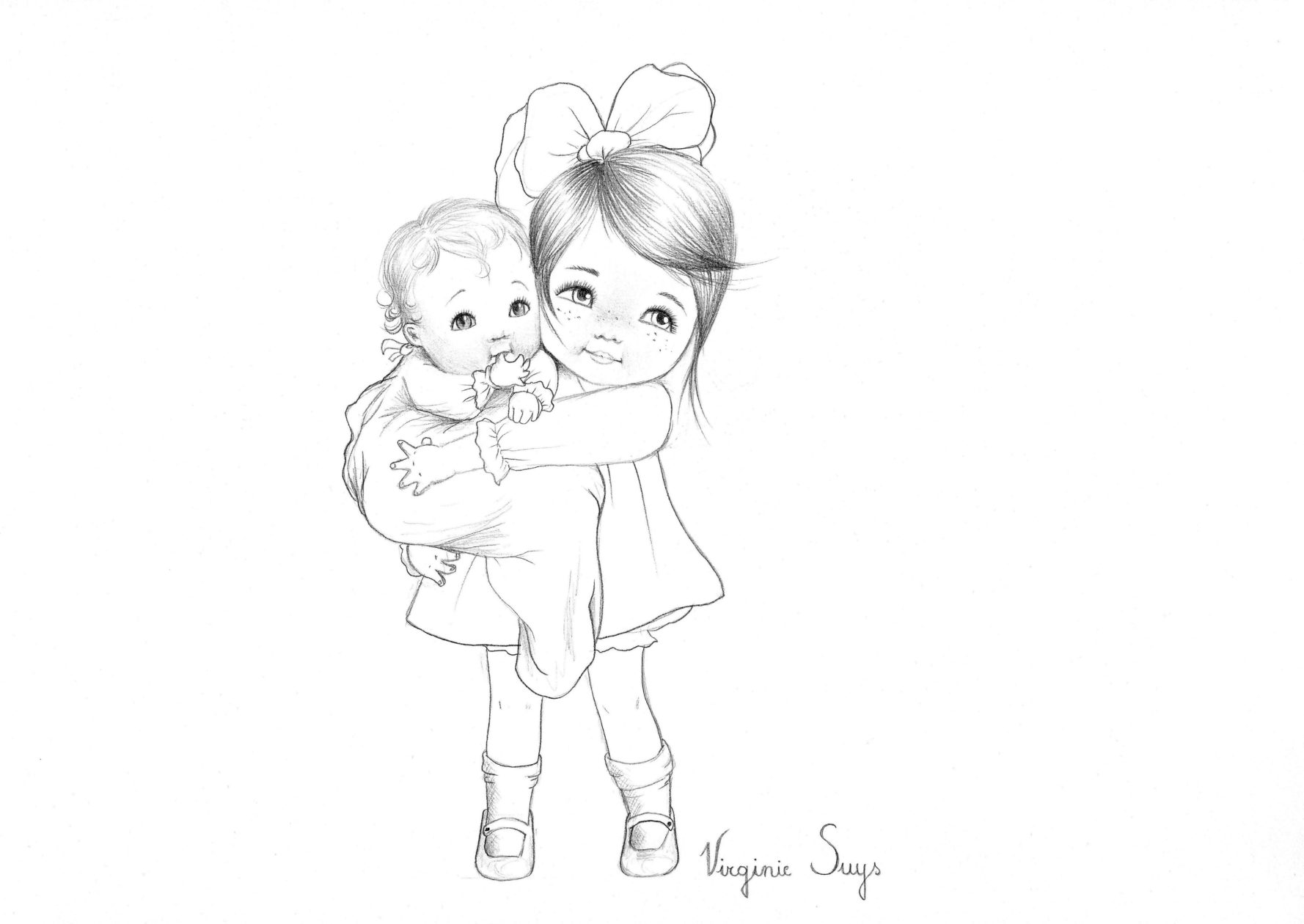 Virginie Suys Big sister with baby in black & white illustration