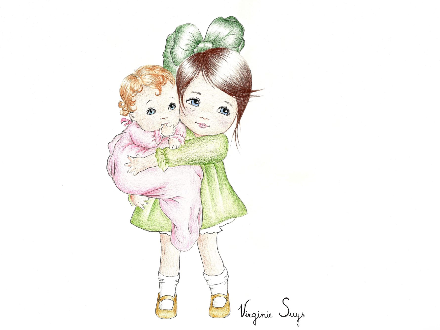 Virginie Suys Big sister with baby in pink-green illustration