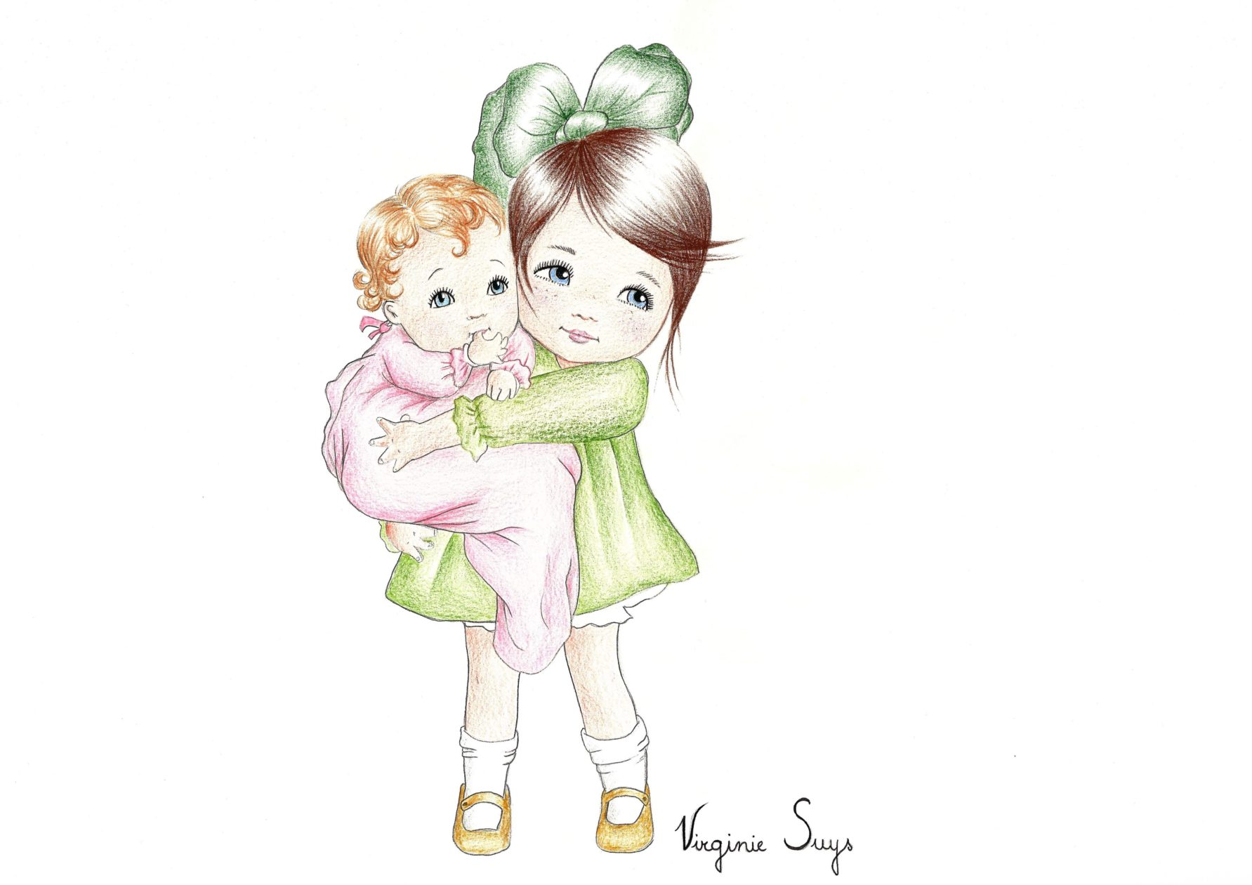 Big sister with baby - green version