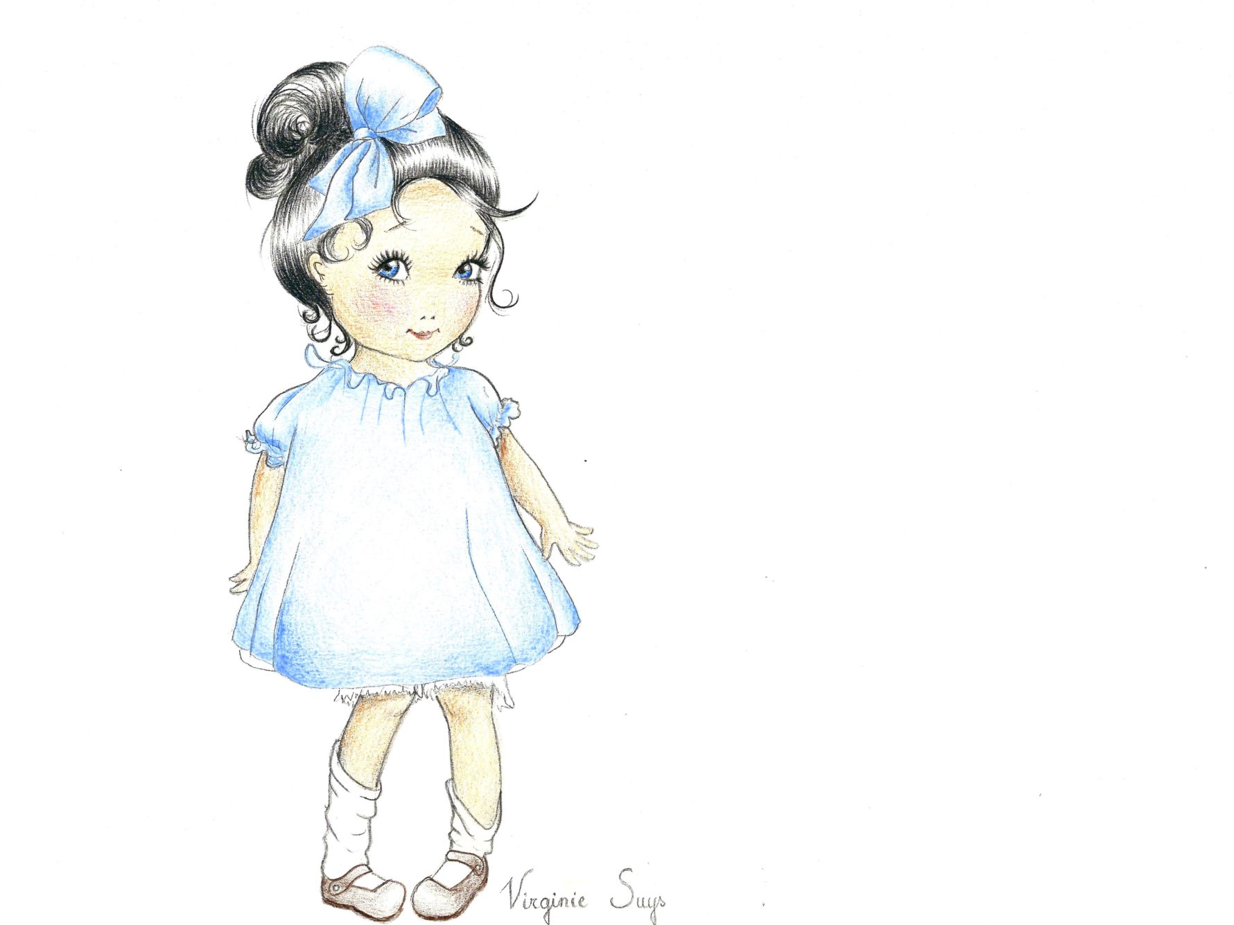Virginie Suys Girl with bow in blue illustration