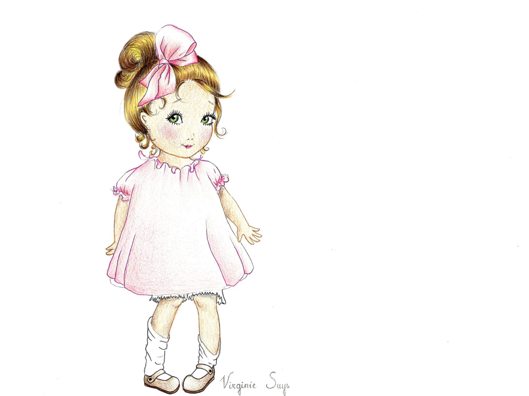 Virginie Suys Girl with bow in pink illustration